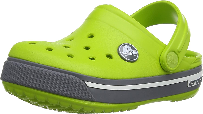 crocs Crocband II.5 K Clog (Toddler/Little Kid), Volt Green/Charcoal, 1 M US Little Kid