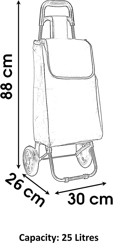 Urban Living 25L Large Shopping Trolley Folding 2 Wheel Lightweight Waterproof Strong Shopping Trolley Bag On Wheels Foldable Cart Easy Storage Retro Bio Enjoy Quality