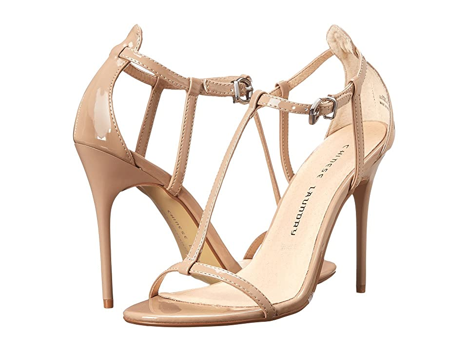 Chinese Laundry Leo T Strap Sandal (Nude Patent) High Heels