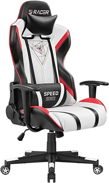 Homall Gaming Racing Office High Back PU Leather Computer Desk Executive And Ergonomic Swivel Chair With Headrest Red Black