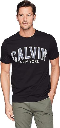 Short Sleeve Calvin Outlined Printed Logo Tee