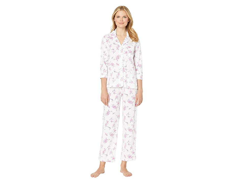 Carole Hochman Notch Collar Pajama Set (White Bouquet) Women