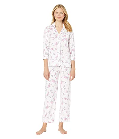 Carole Hochman Notch Collar Pajama Set (White Bouquet) Women