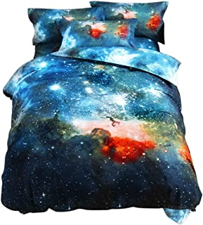 uxcell Full/Queen 3-Piece Galaxies Multicolor Comforter Duvet Cover Sets - 3D Printed Space Themed - All-Season Reversible Design - Includes 1 Duvet Cover, 2 Pillow Shams