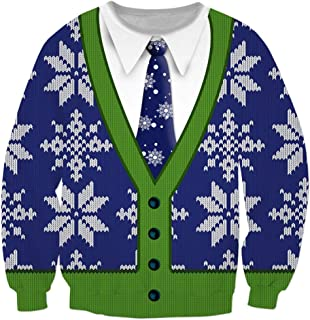 Mens Happy Ugly Christmas Party 3D Printed Long Sleeve Shirt Round Neck Tops