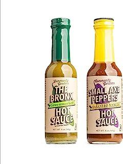Small Axe Peppers HOT ONES Hot Sauce Set, (2) 5 oz- All Natural, Kosher, non-GMO, Community Garden Grown! Mango Habanero S...