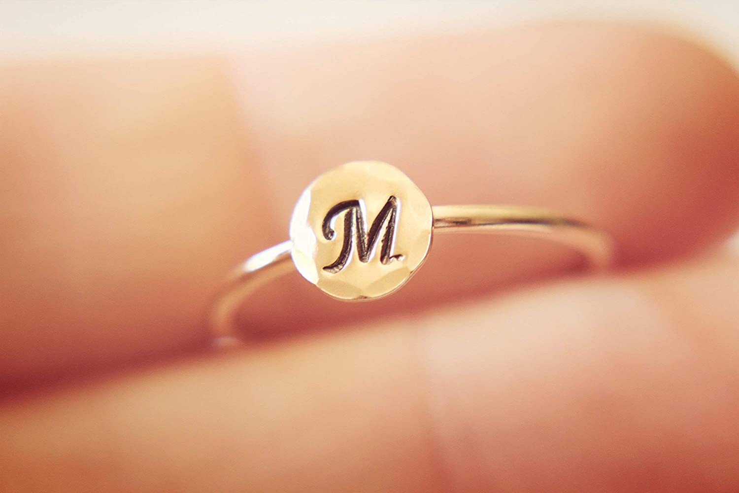 Rose Max 84% OFF New product Gold Initial Ring Stac Alphabet Letter