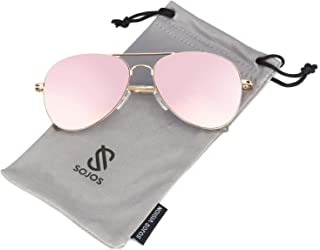 SOJOS Classic Aviator Mirrored Flat Lens Sunglasses Metal...