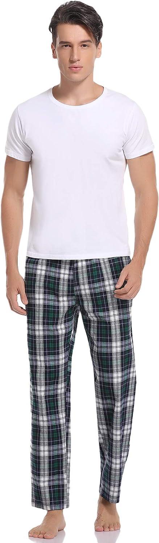 Aibrou Pantalon de Pijama Hombre Largos de Algod/ón Pantalones Pijama para Hombre de Cuadros Invierno Primavera Suelto y c/ómodo