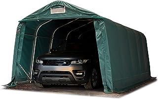 TOOLPORT Tente-Garage carport 3,3 x 6,0m d'élevage abri agricole Tente de Stockage bâche 550g/m² Armature Solide Vert Fonce