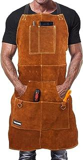 Mandil de Soldador Premium de Cuero Protector para Hombre. Delantal de Herrero Termico Ignifugo para Soldadura en Taller con 6 Bolsillos para Herramientas
