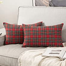 MIULEE Set of 2 Scottish Tartan Plaid Throw Pillow Covers Farmhouse Classic Decorative Cushion Cases for Christmas Home Fa...