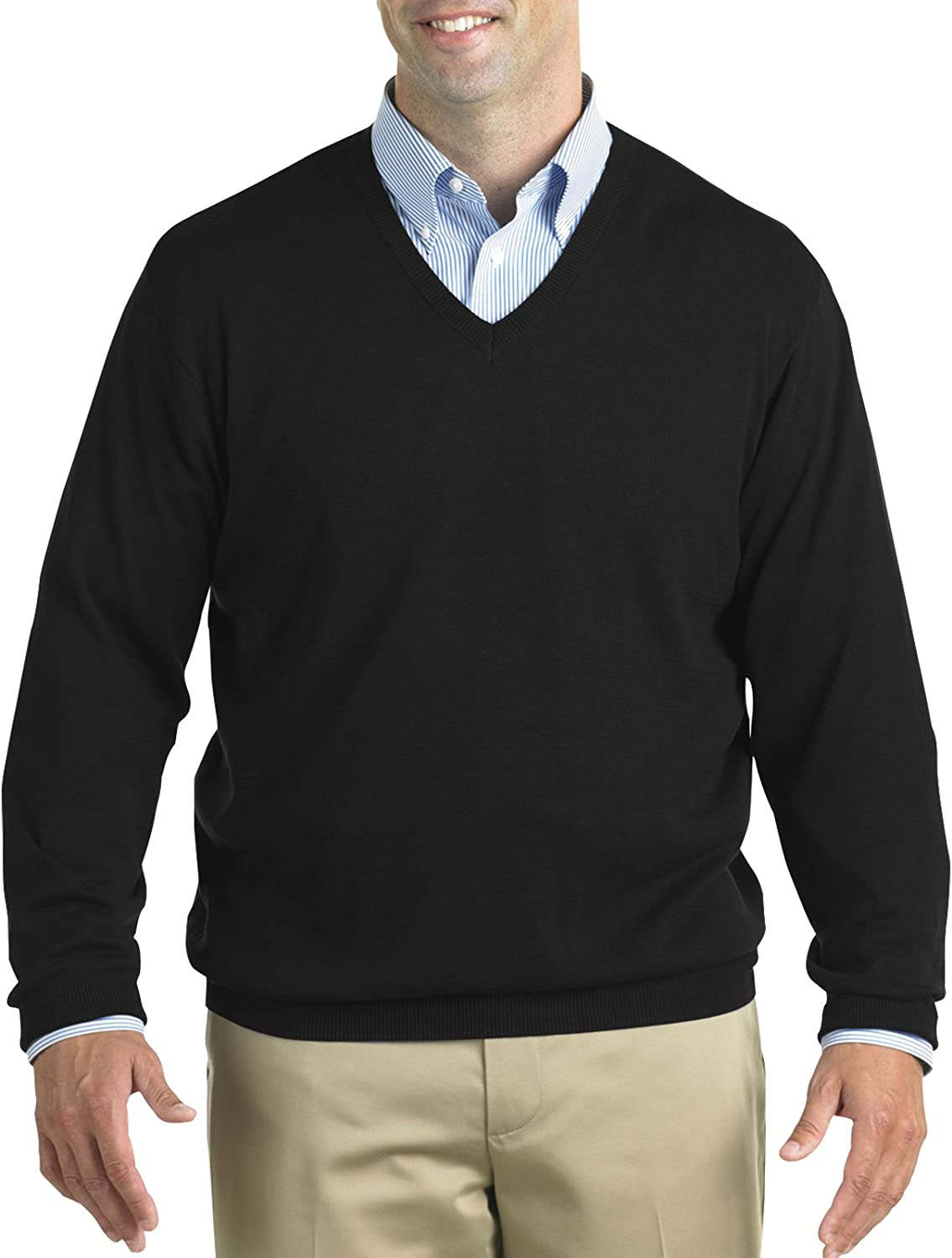 Harbor Bay by DXL Big and Tall V-Neck Pullover, Black, X-Large