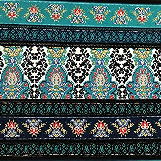 Teal Blue and Turquoise Tapestry Printed on Liverpool Stretch Knit Fabric
