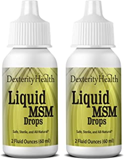 Dexterity Health Liquid MSM Eye Drops 2-Pack of 2 oz. Squeeze-Top Bottles, 100% Sterile, Vegan, All-Natural and Non-GMO, C...