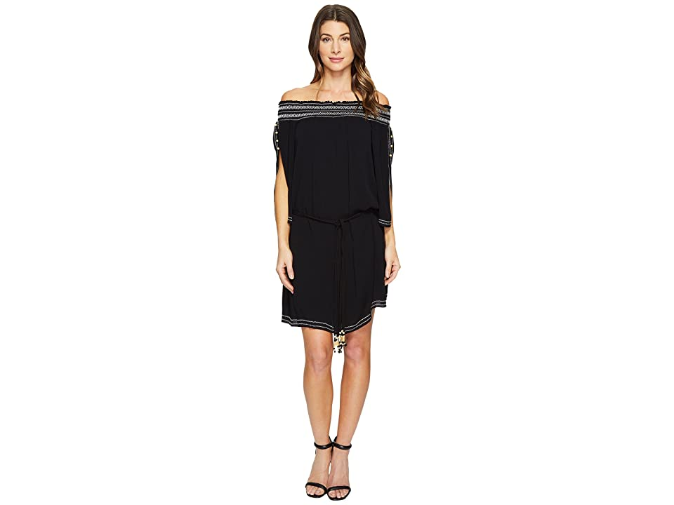 Hale Bob A Place In The Sun Crinkle Rayon Gauze Off Shoulder Dress (Black) Women