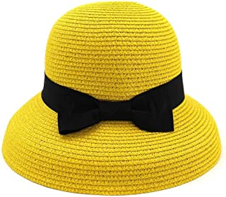 Summer hat Spring Summer Hat Graceful Woman Hollow Fold Fisherman Hat Travel Cap Gift Bowknot hat (Color : Yellow, Size : 56-58CM)