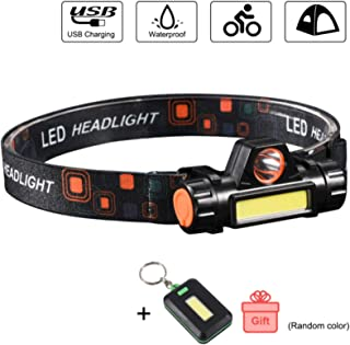 COBA LED Headlamp Flashlight USB Rechargeable COB Camping Lamp for Kids and Adults with Magnet Base/ IPX6/ 4 Modes Headlight for Camping & Running & Hiking Gear Lightweight, Waterproof, Portable