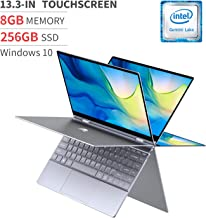"BMAX 13.3"" 2 in 1 FHD Touchscreen Laptop Computer, Intel Quad-Core Celeron N4120, 8GB DDR4, 256GB M.2 SSD, 2 Type-C Ports, LED Backlit Keyboard, AC WiFi + BT 5.0, Windows 10, All-Metal Body"