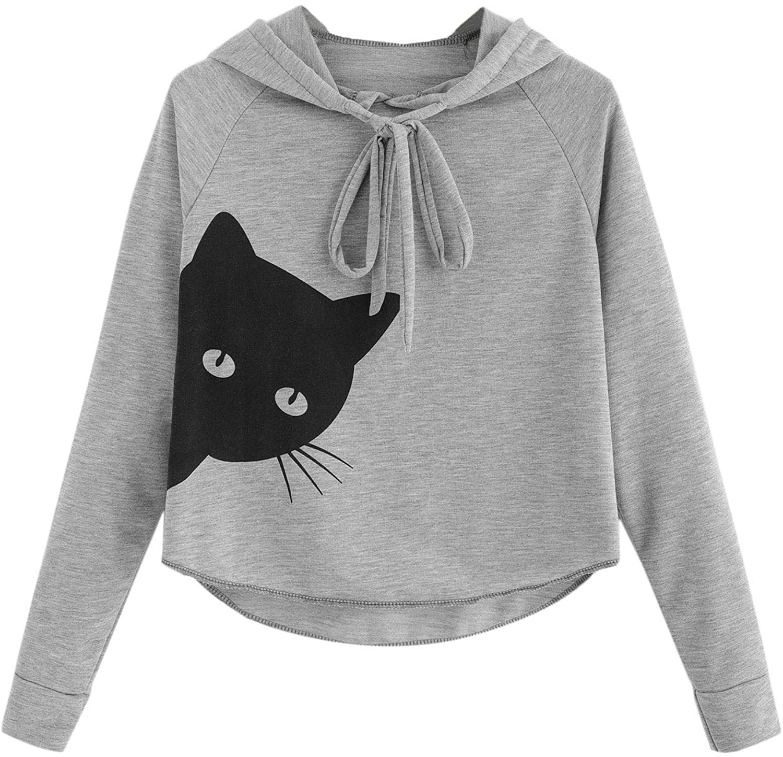SweatyRocks Women's Long Sleeve Cat Printed Pullover Lightweight Hoodie Shirt