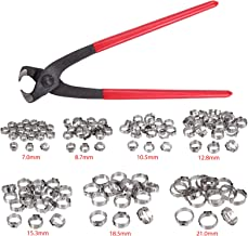 Stepless Hose Clamp Single Ear Stepless Hose Clamps Ear Hose Clamp Crimper 130PCS 6-21mm 304 Stainless Steel Cinch Clamp Rings Single Ear Hose Clamp Crimper Tool Kit