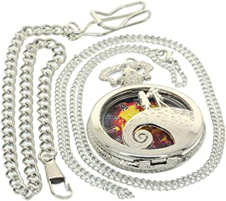 Silver Nightmare Before Christmas Roman Numerial Pocket Fob Watch Necklace Antique Men Women Vintage Quartz Clock Tim Buttons Jack and Sally Hollow Watches 1 PC Necklace 1 PC Clip Key Rib Chain
