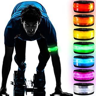 7 Pieces LED Armbands LED Band Bracelet Light Up Sports Wristbands with Elastic Band Reflective Running Arm Gear Glow in T...