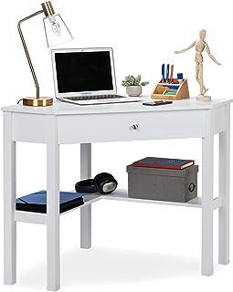 Relaxdays 10029477 Bureau d'Angle, étagère et tiroir, Peu encombrant, Chambre de Travail,Style campagnard,HlP: 76x107x72 c...