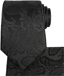 KissTies Mens Tie Set: Paisley Necktie + Pocket Square Hanky + Gift Box