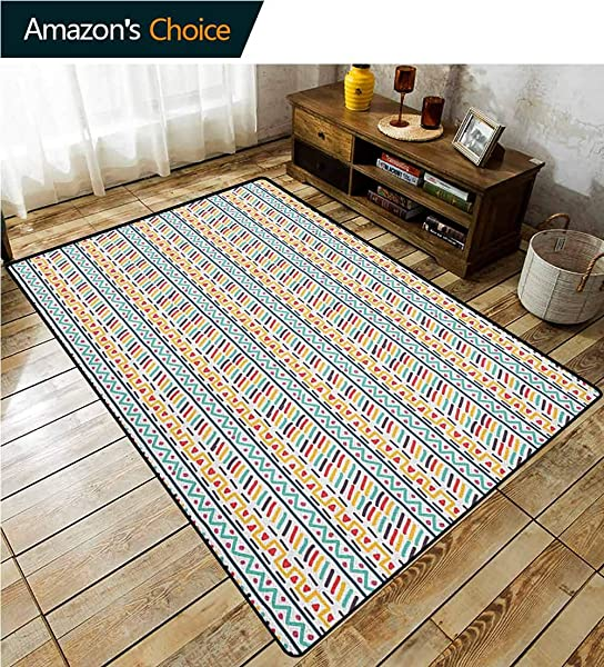 Abstract Paisley Rug Pads Doodle Style Colorful Shapes Herringbone Zigzag Lines Triangles And Stripes Design Durable Rugs Living Dinning Office Rooms Bedrrom Hallway Carpet 2 X 6