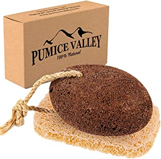 Pumice Stone for Feet - Natural Lava Foot Stone with New Eco-Friendly Holder - Callus Warts Corn Removal - Pedicure Exfoli...