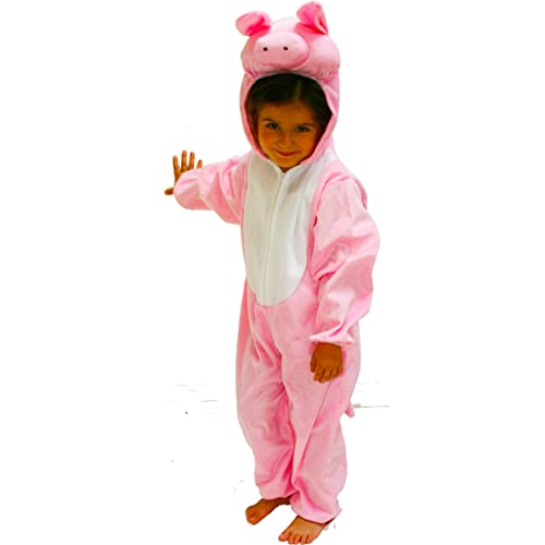 Kids Pig Costume Girls Boys Fancy Dress Outfit Farm Animal Play Pink Age 3-6 NEW
