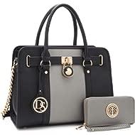Women's Fashion Handbags Shoulder Bag Satchel Purse Tote Top Handle Work Bag 2pcs Set for Ladies...