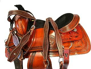 Trail Saddle 15 16 17 Western Horse DEEP SEAT Pleasure Floral Tooled Leather Set