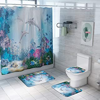 Beyonds Bathroom Mat Set 4 Pcs with 12 Hook, Shower Curtain Set Coral Dolphins Non-Slip Carpet Doormats Decor Rugs Bath Mat for tub Kids Floor Home Bathroom