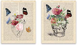 Kairne Anatomical Heart Vintage Dictionary Page Art Print Black and White Hand Draw Heart with Flower Butterfly Skull with Flowers Vintage Page Wall Art Poster and Print Set of 2 8x10 inch, unframed