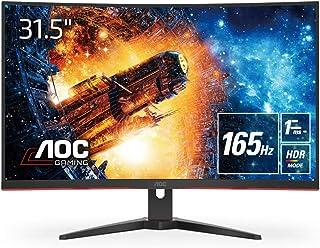 AOC ゲーミング液晶モニター C32G2E/11 (31.5インチ/フルHD/VA/曲面/HDMI/DisplayPort/165Hz/応答速度1ms/HDRエフェクトモード/FreeSync Premium/フリッカーフリー/ローブルーモード)