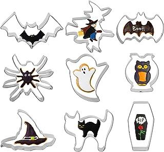 AirSMall 9 Pcs Emporte Pièce Halloween, Moule à Biscuits en Acier Inoxydable Halloween Découpe de Biscuits d'halloween Mot...