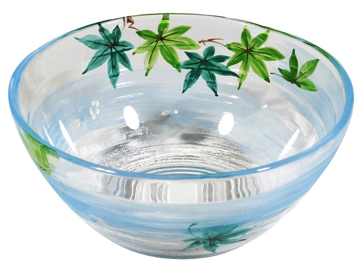 制裁十分ご意見京の色絵ガラス 若葉 多用鉢 (化粧箱入) 青楓