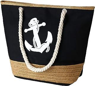 flintronic® Bolsa de Playa para Mujer, Totalizador de Lona de Verano, Bolso Grande con Asa de Cuerda para Playa, día de Fi...