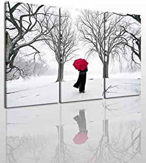 Black White and Red Canvas Wall Art Painting Modern Design Picture for Home Office Decor - 3 Pieces Snow Winter Landscape Framed On Wooden Frame Image Pictures Photo Artwork Decoration Ready to Hang