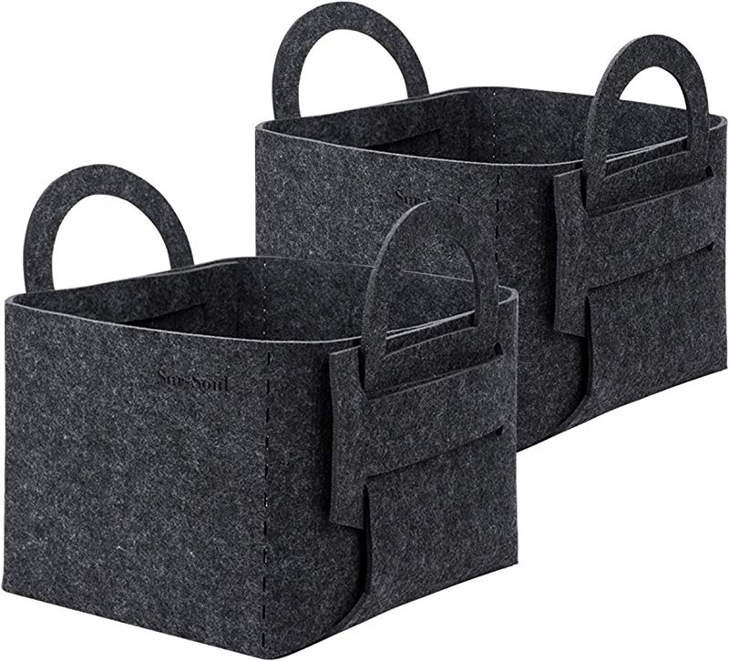 SurSoul Storage Baskets Felt Storage Bins For Clothes Toys Books Collapsible Laundry Baskets With Handle Storage Solution For Office Bedroom Shelf Closet 2 Pack