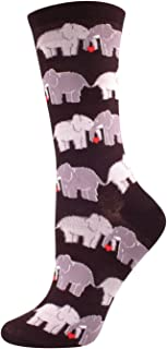 Socksmith Women's Socks Elephant Love Crew Black 1pair, Sock size 9-11