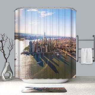 BEICICI Custom Personalized Shower Curtain and Floor Mat Aerial View of Lower Manhattan New York City Waterproof Shower Curtain with Non-Slip Floor Doormat Bath Rugs