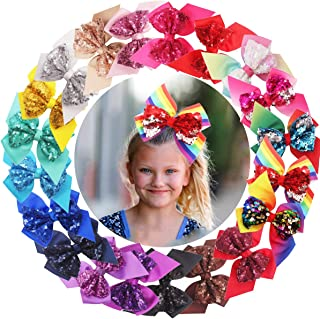 20PCS Sequin Hair Bows 6Inch Large Big Glitter Sparkly Reversible Sequin Bows Rainbow Hair Bows Alligator Hair Clips Hair Accessories for Baby Girls Toddlers Kids Children Teens