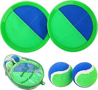 Ball Catch Set Game Toss Paddle – 【2020 Upgraded】Backyard Target Throw Catch Volcro Sticky Mitt Tennis Ball Set Age 3 4 5 6 7 8 9 Years Old Boy Girl Kids Easter Outdoor Beach Toy Gift with Bag (Green)