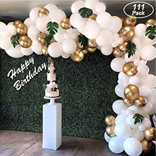 af-tigonhw Balloon Arch Garland Kit, Kids Party Balloons, 111Pcs White Metallic Gold Latex Balloons, DIY Balloon Arch for Wedding Birthday Baby Shower Parties Decorations