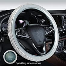 Proumhang Diamond Car Steering Wheel Cover With Bling Bling Crystal Rhinestones Anti-Slip Leather PU Universal Size 15 Inch 38CM White