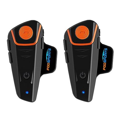 BT-S2 Intercom Moto étanche Bluetooth Casque Oreillette Moto Interphone pour Moto & Ski (1000M/ MP3/ GPS/Radio FM/ 2~3 Riders/Full Duplex/Mains Libres/Difficile Câble/Lot de 2)