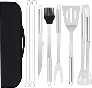 SIOMK Grilling Accessories, 10PCS Stainless Steel BBQ Tools Set, Heavy Duty Grill Utensils Set with Portable Case for Outd...